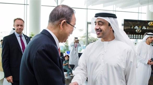 عبدالله بن زايد يستقبل الأمين العام للأمم المتحدة.